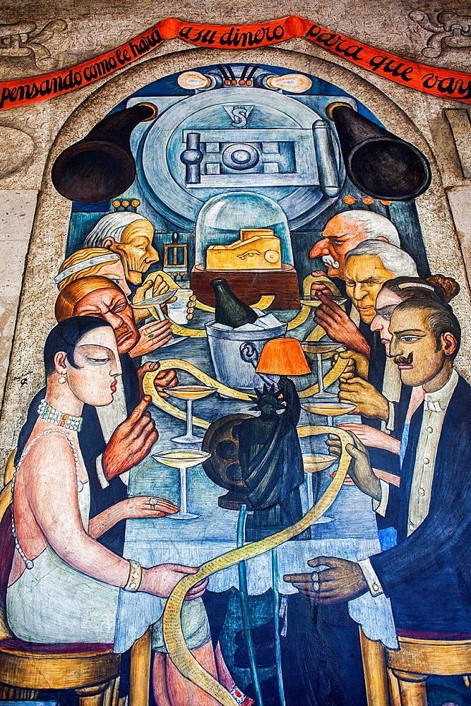 Wall street banquet by Diego Rivera, at SEP (Secretaria de Educacion Publica),Secretariat of Public Education, Mexico City, Mexico.
