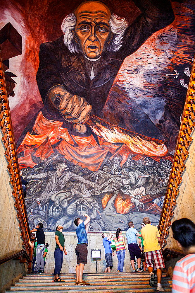 Hidalgo' mural painting by Jose Clemente Orozco over the main staircase of the Government Palace, Guadalajara. Jalisco, Mexico.
