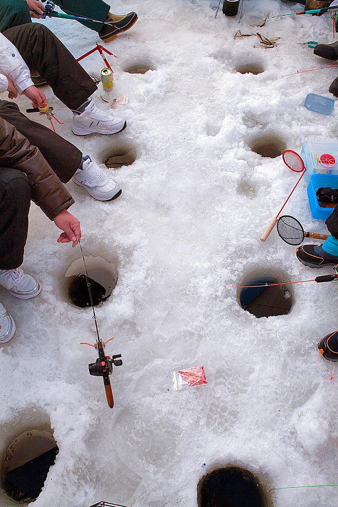 Ice fishing,Abasiri lake,Abashiri, Hokkaido, Japan. - 817-456094