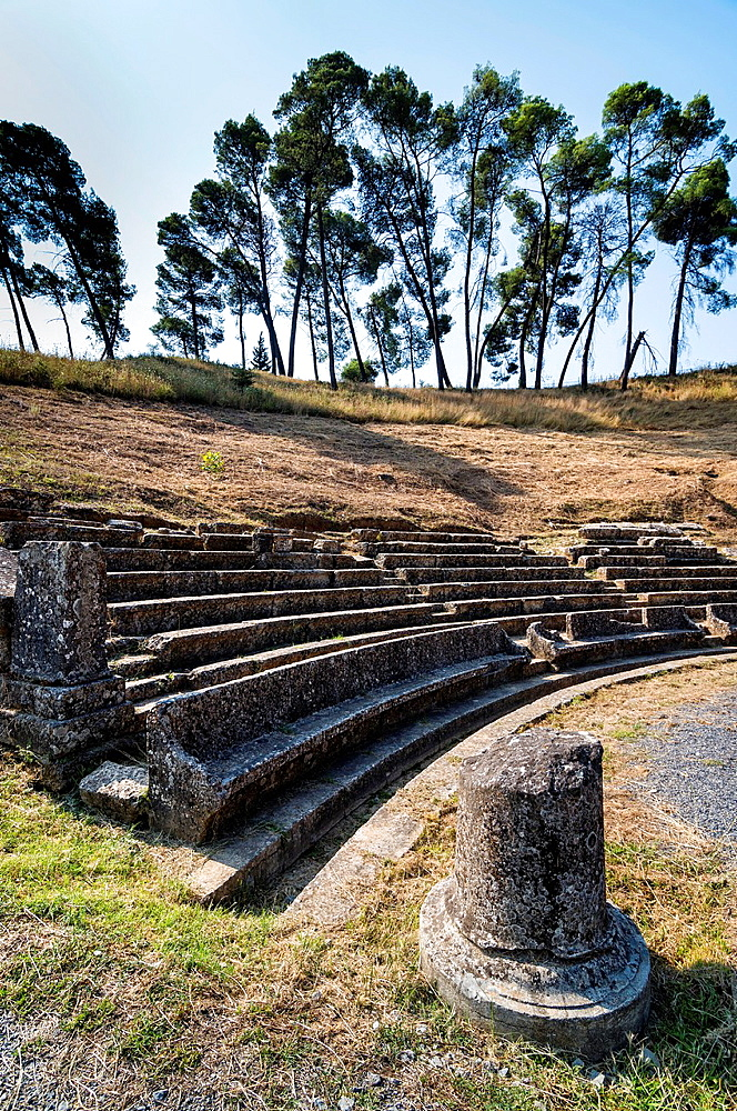 The ruins of the theatre at Ancient Megalopolis. Megalopoli, central Peloponnese, Greece.