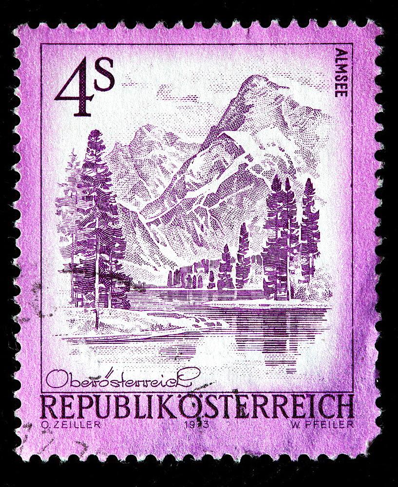 Almsee, postage stamp, Austria, 1973