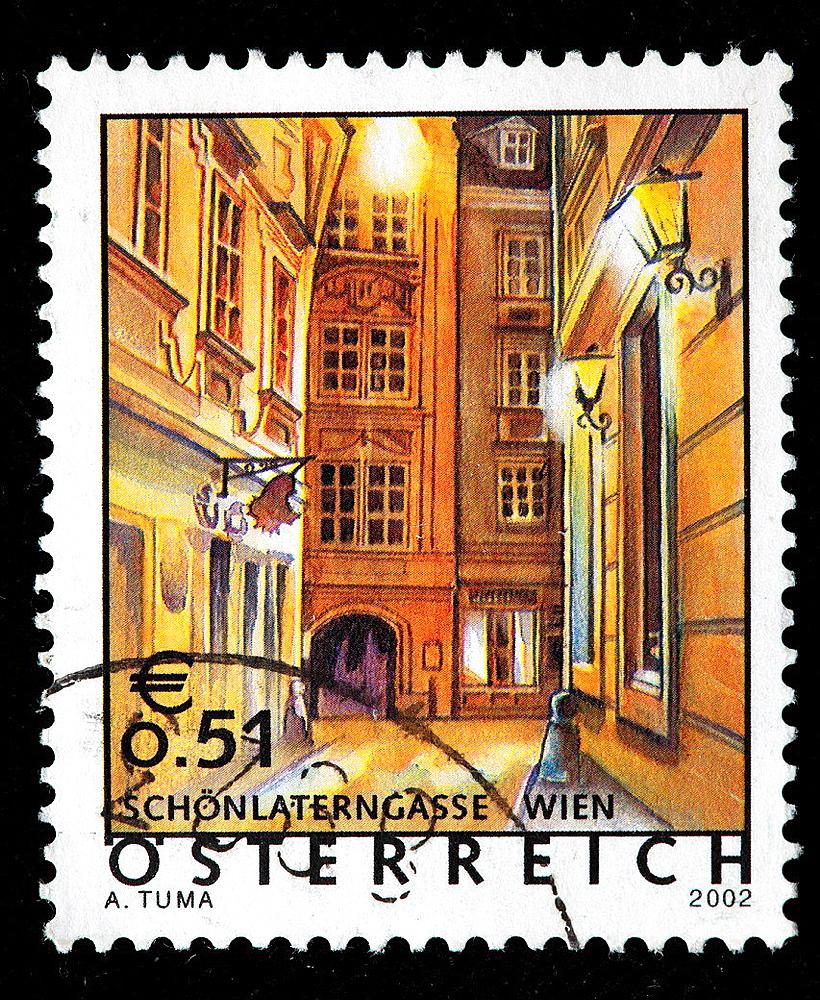 Schonlaterngasse, Vienna, postage stamp, Austria, 2002