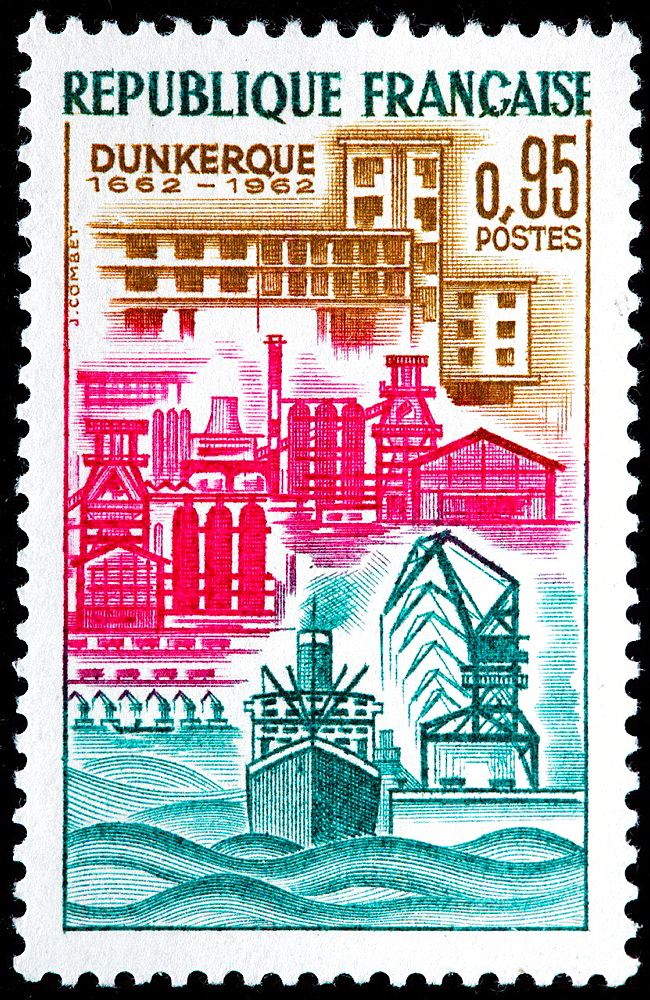 Dunkerque, postage stamp, France, 1962