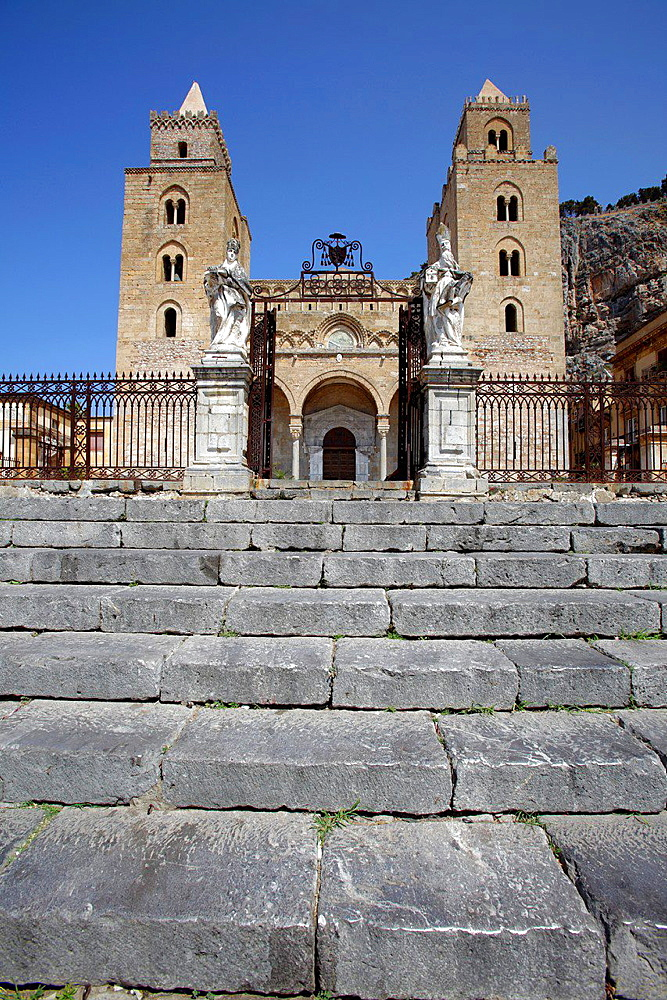 Two towersof the Cathedral of Cefalu, Sicily, Italy.