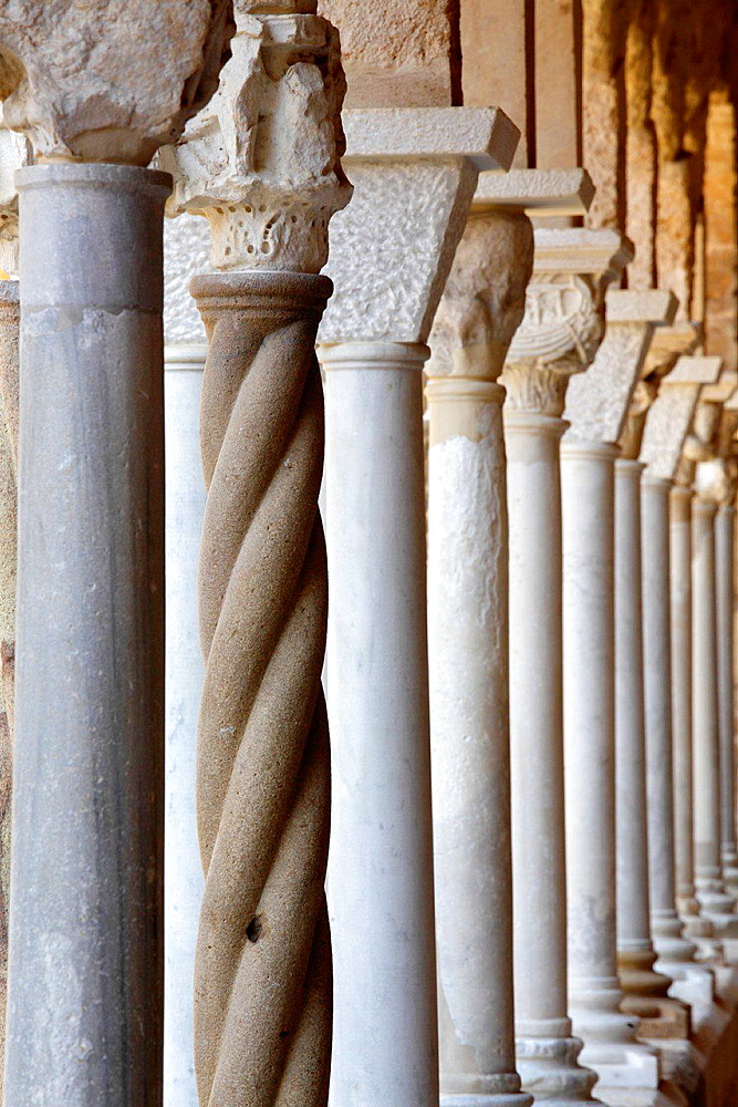 The cloister of the Cathedral of Cefalu, Sicily, Italy.