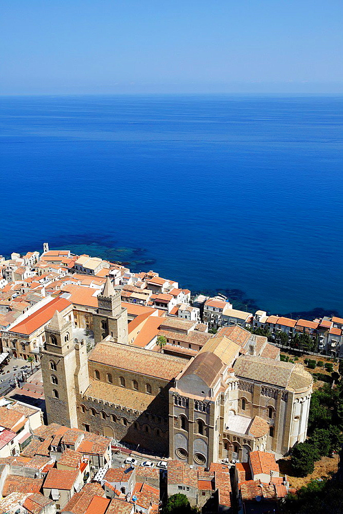 Aerial view of Cefalu, Sicily, Italy.