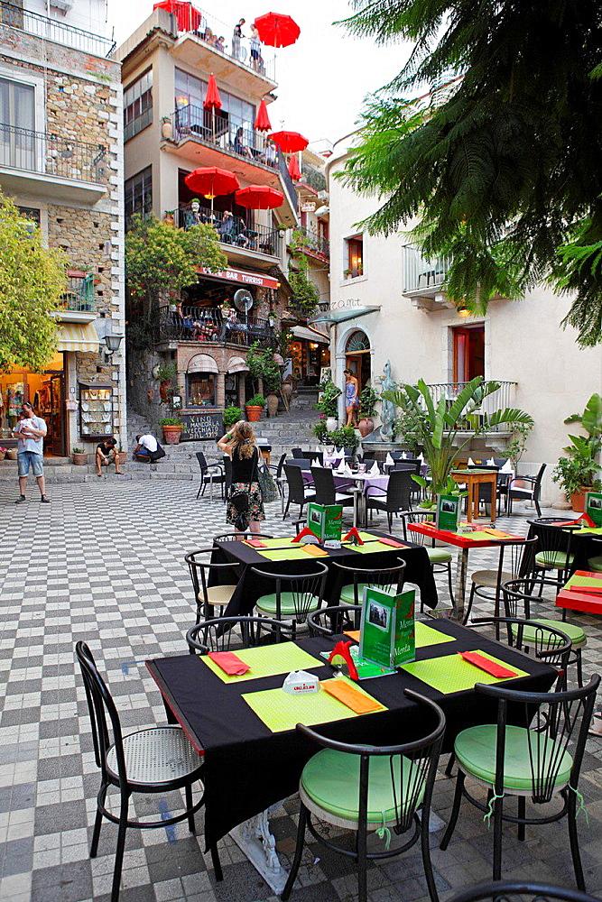 The square of Castelmola, Messina Province, Sicily, Italy.