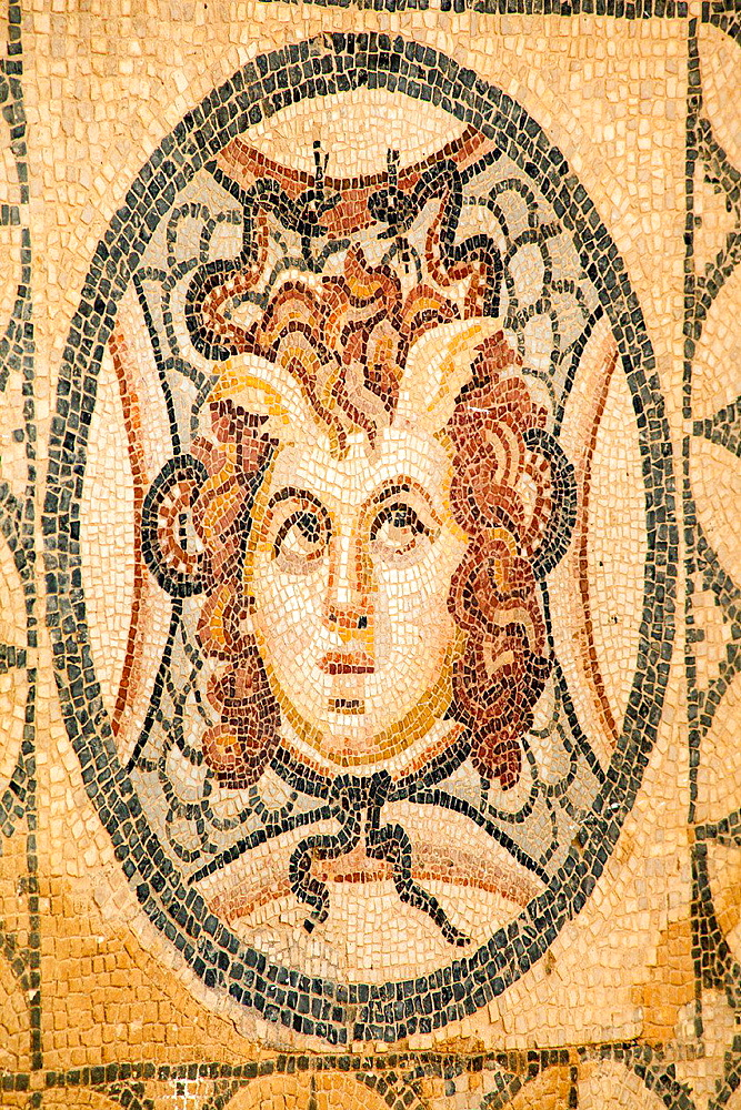 Mosaic of Medusa on the floor of one of the terrace houses, Ephesus, Turkey.