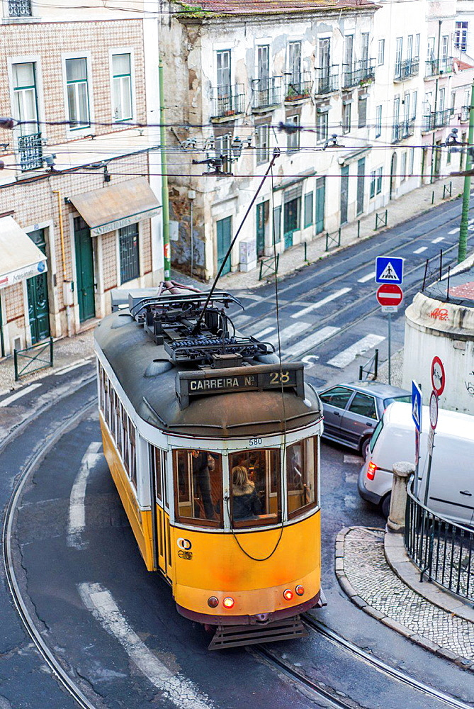 Tram in Alfama district, Lisbon, Portugal.