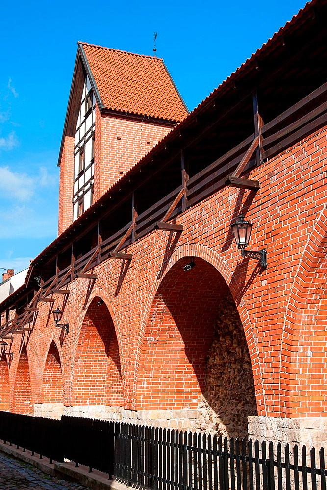 Reconstructed fragment of the city wall and Ramer tower on Torna street, Riga, Latvia.