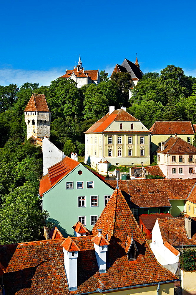 View of Sighisoara Saxon fortified medieval citadel from the clock tower, Transylvania, Romania.