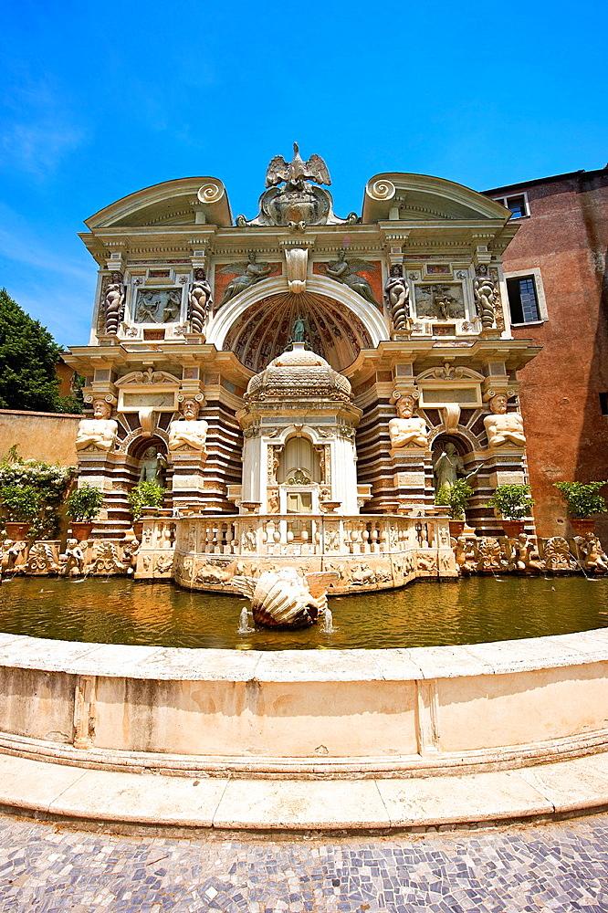 The Organ fountain, 1566, housing organ pipies driven by air from the fountains. Villa d'Este, Tivoli, Italy, Unesco World Heritage Site.