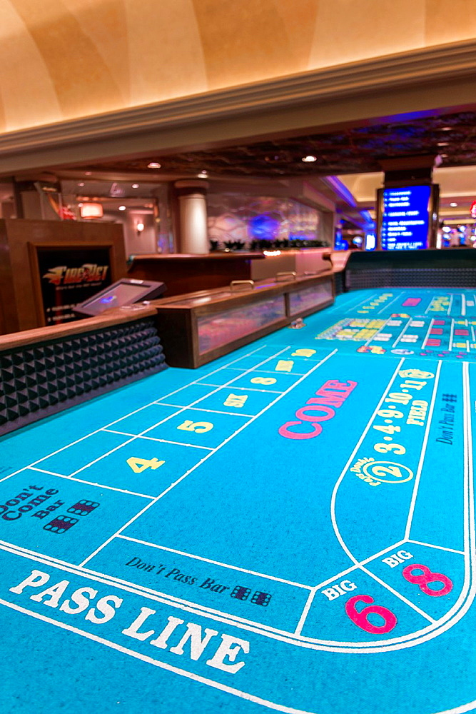 Craps Table, Casino Interior, Harrah's Hotel and Casino, Las Vegas, Nevada, USA. Without dices.