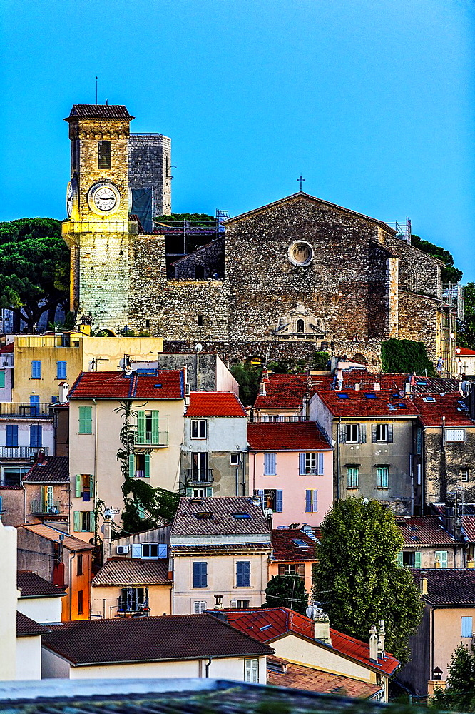 Europe, France, Alpes-Maritimes, Cannes. Suquet church at dusk.