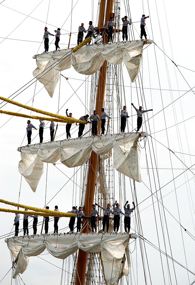 sailors on Cuauhtemoc, Mexican sailing vessel, three-masted barque, the crew, 109 sailors, Armada 2013, cruise of biggest sailing vessels in the world on Seine river from Rouen to Atlantic Ocean, France, Europe.