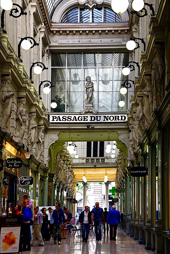 Passage du Nord, shopping arcade near Place de Brouckere, city centre, Brussels, Belgium