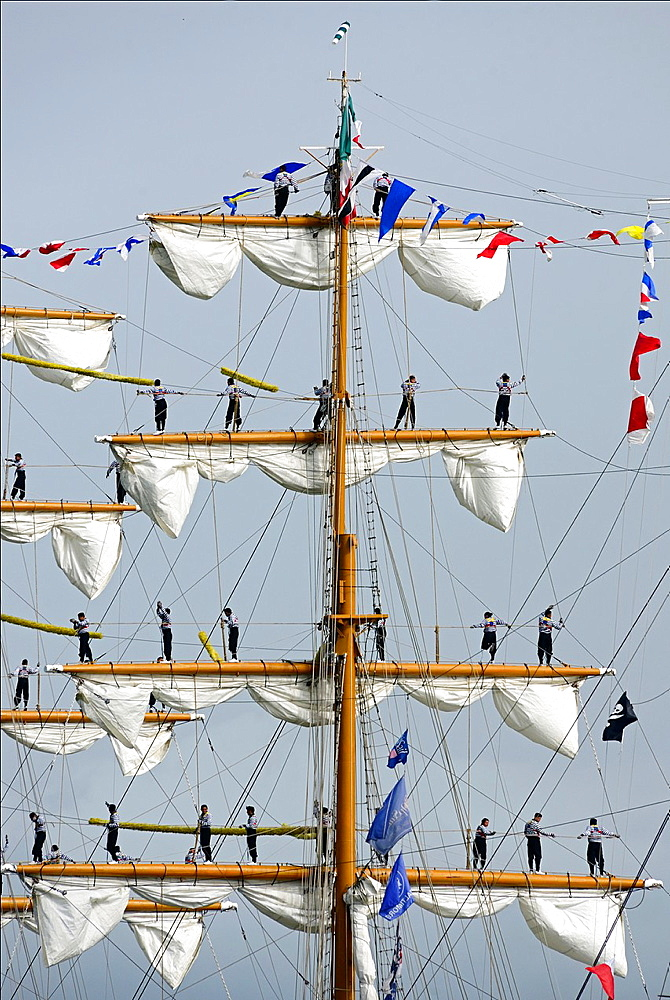 sailors on Cuauhtemoc, Mexican sailing vessel, Armada 2013, cruise of biggest sailing vessels in the world on Seine river from Rouen to Atlantic Ocean, France, Europe