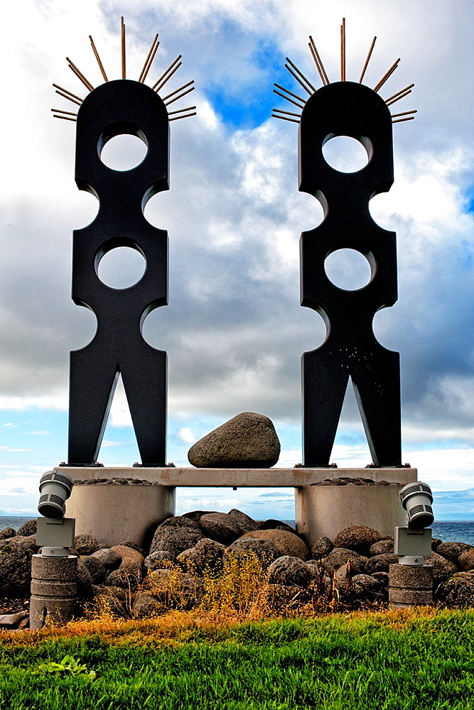 Sculptures at the seaside, Western regions, Iceland.