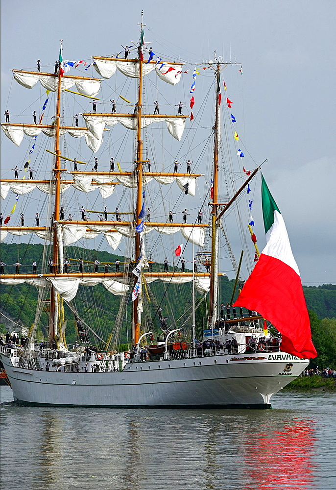 sailors on Cuauhtemoc, Mexican sailing vessel, Armada 2013, cruise of biggest sailing vessels in the world on Seine river from Rouen to Atlantic Ocean, France, Europe.