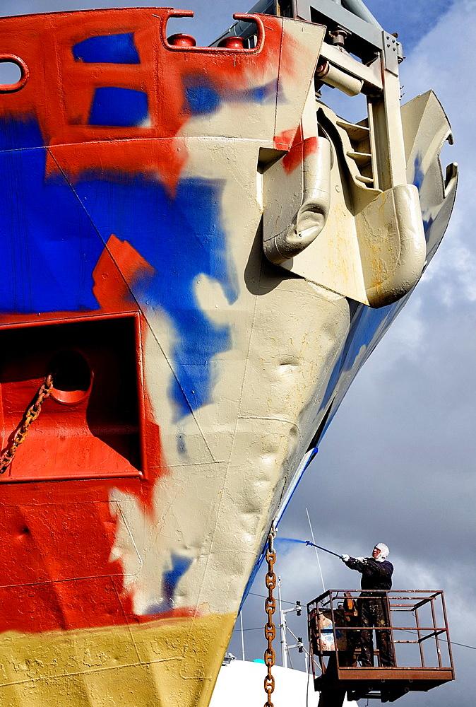 Painting of old fishing trawler, shipyard, Reykjavik, Iceland.