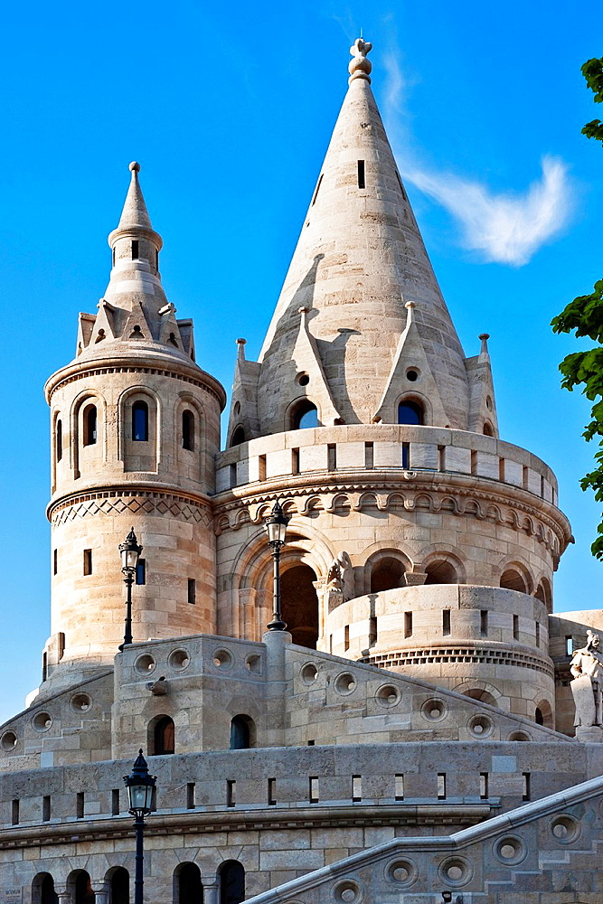 View of the Fishermen's Bastion, a neo-Romanesque monument. Built from 1895 to 1902, by Frigyes Schulek. It stands on the Castle Hill on the site of the medieval fish market of Buda, Budapest, Hungary, Europe.