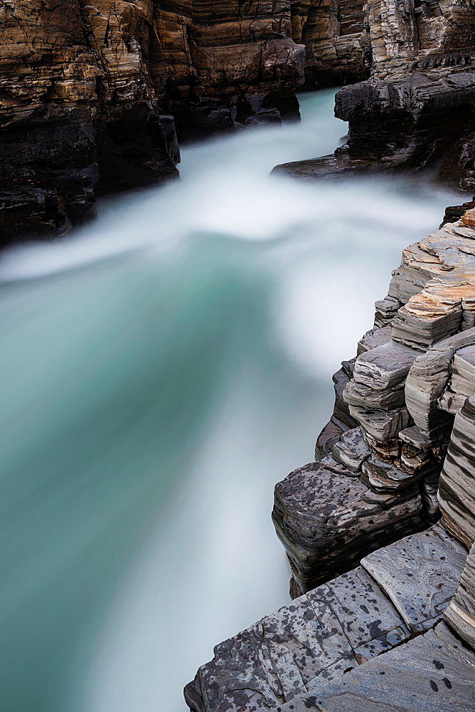 River flows over rocks, Abisko, Lappland, Sweden.