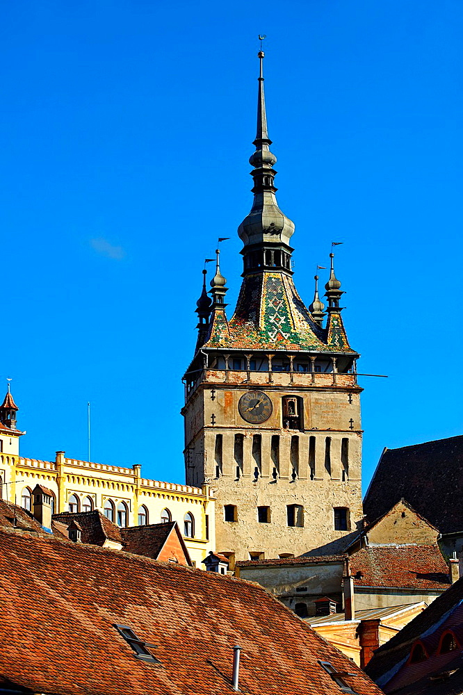 Medieval clock tower & gate of Sighisoara Saxon fortified medieval citadel, Transylvania, Romania.