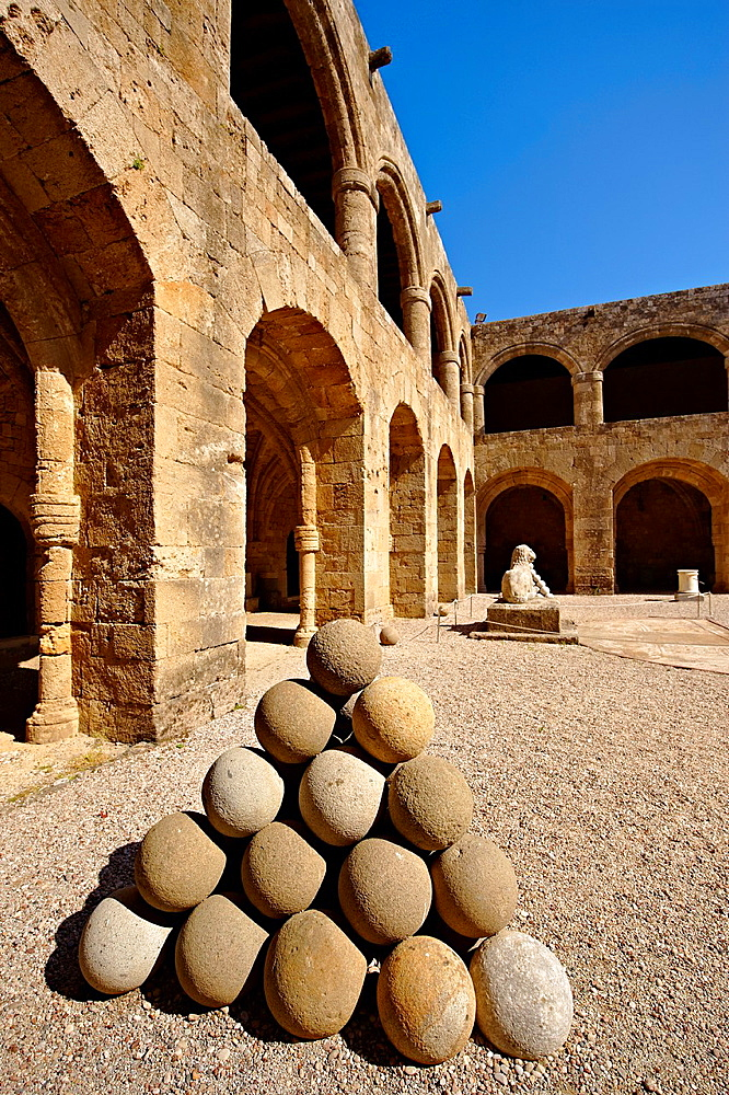 Medieval Hospital of the Knights of St John completed in 1480 which houses the Archeological Museum, Rhodes, Greece. UNESCO World Heritage Site.