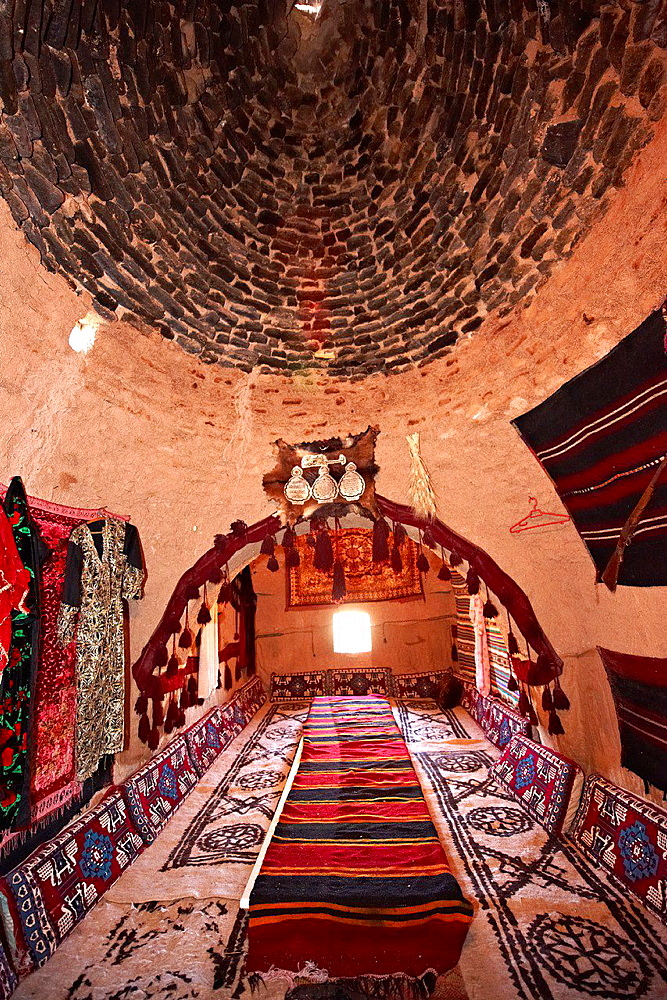 Interior of a beehive house in Harran, Southern Anatolia, Turkey