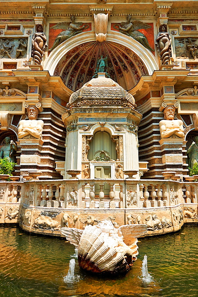 The Organ fountain, 1566, housing organ pipies driven by air from the fountains. Villa d'Este, Tivoli, Italy, Unesco World Heritage Site.