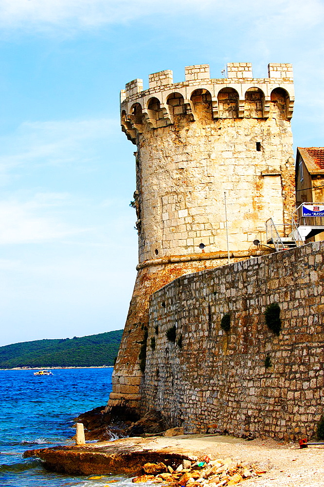 Defensive tower in the medieval walls of Korcula town, Korcula Island Craotia.