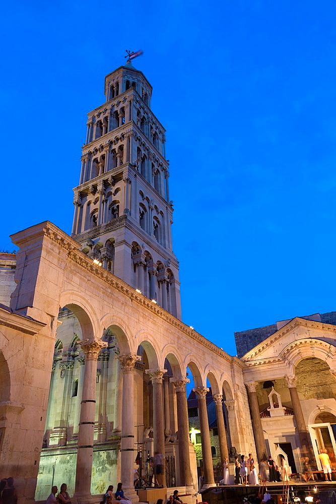 cathedral Saint Domnius at night, Split, Croatia.