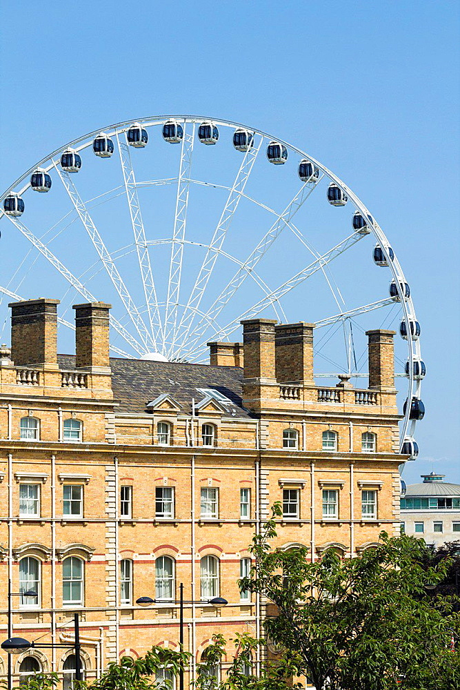 The Royal York Hotel and Yorkshire Wheel From the city walls. York, Yorkshire, England, United Kingdom.