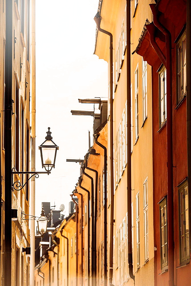 City scene with old buildings in narrow alley in Stockholm, capital of Sweden.