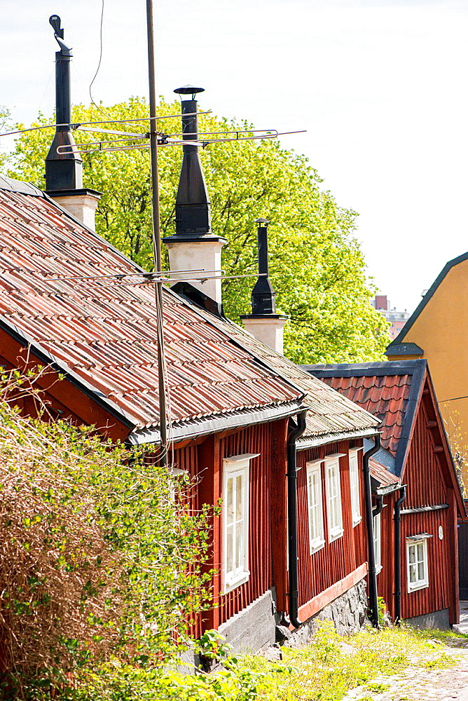 City scene with old buildings in Stockholm, capital of Sweden.