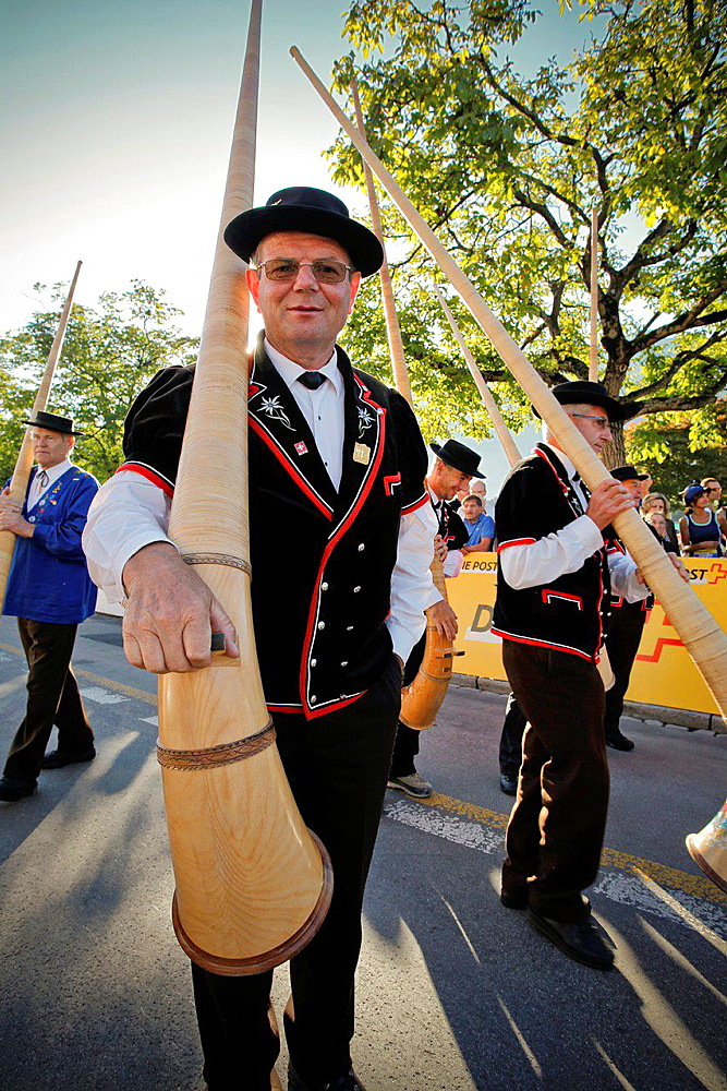 Celebrations of the beginning of the Jungfrau Marathon 2011, where they could not miss the famous Horns of the Alps. Interlaken, Canton of Bern, Switzerland, Europe.