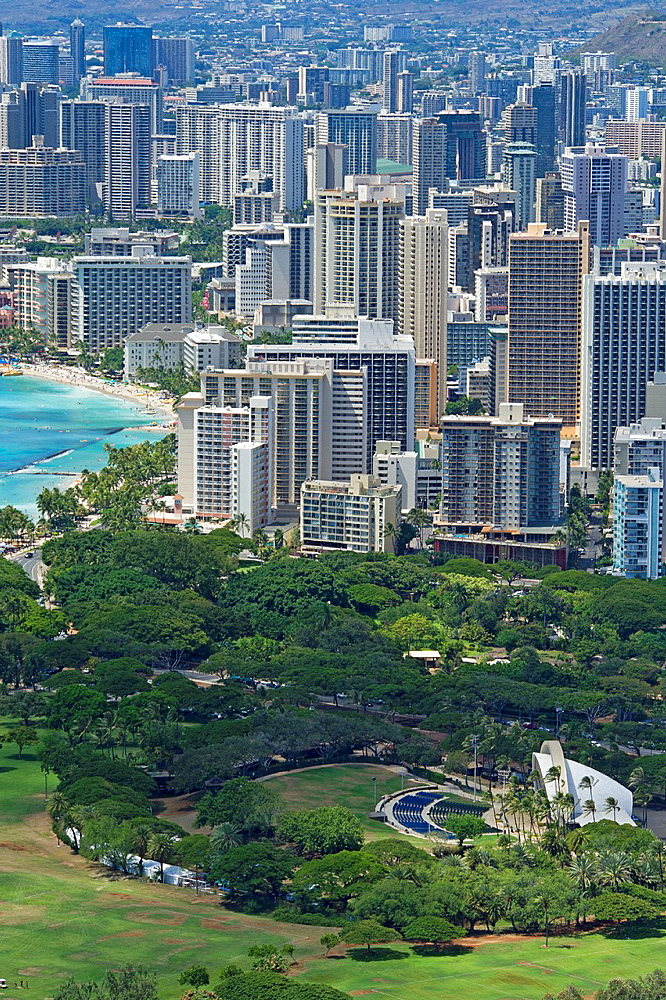 View of Waikiki tourist area of Honolulu from Diamond Head mountain.