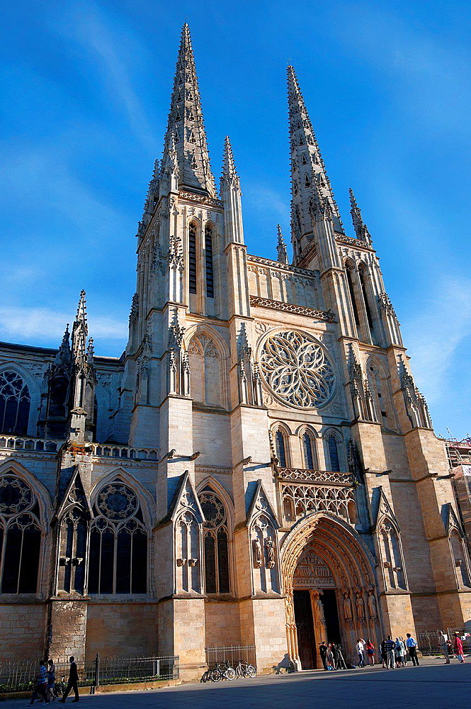 Facade of the Cathedral St-Andre, Bordeaux, Gironde, Aquitaine, France, Europe.