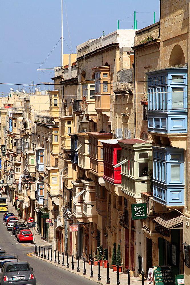 Malta, Valletta, street scene, typical traditional architecture.