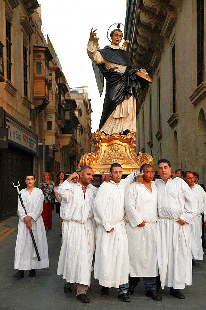 Malta, Valletta, religious procession, people.