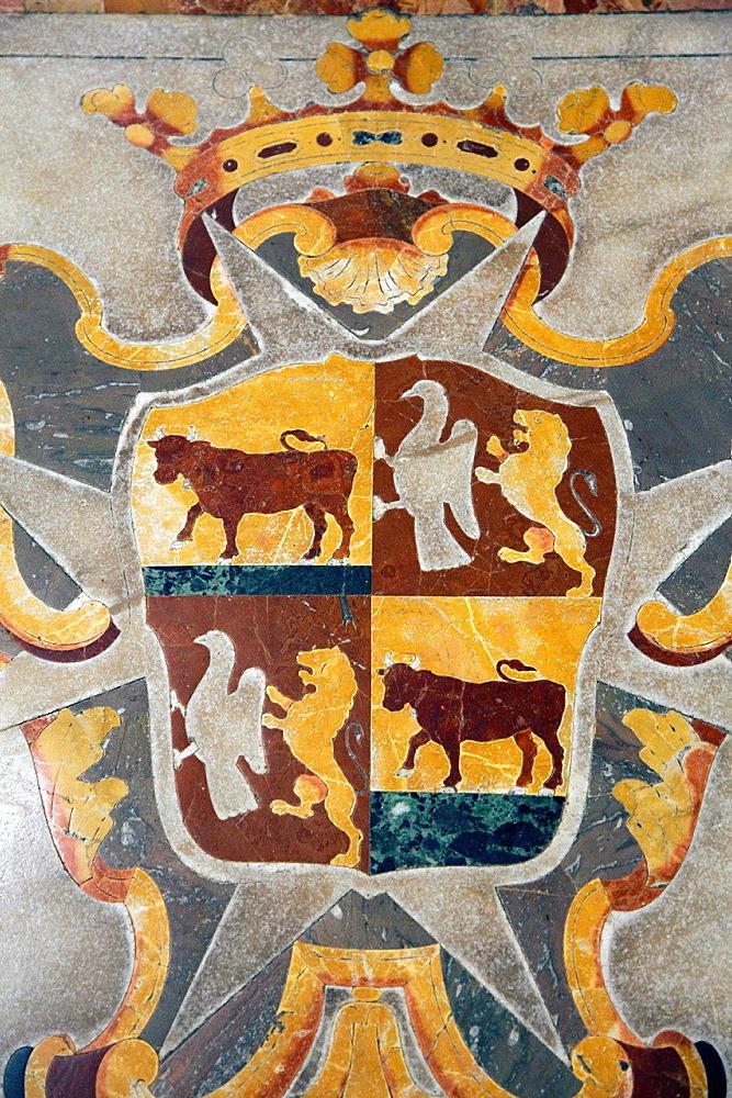 Malta, Valletta, St John's Co-Cathedral, interior, marble floor, images.
