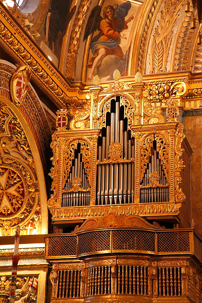 Malta, Valletta, St John's Co-Cathedral, interior, organ.
