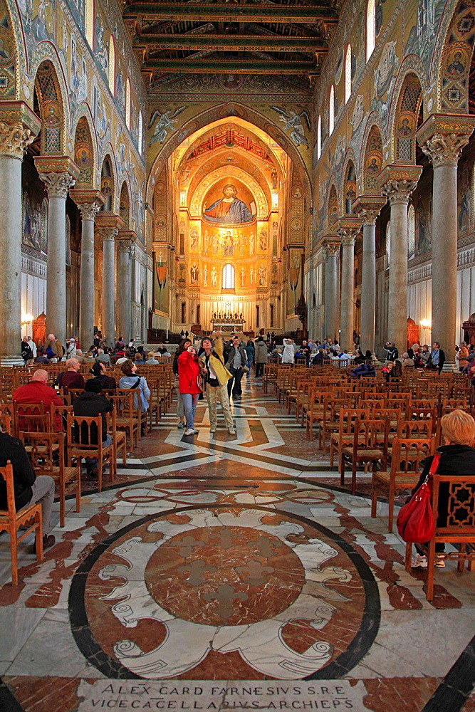 Italy, Sicily, Monreale, Duomo, Cathedral, interior, mosaics.