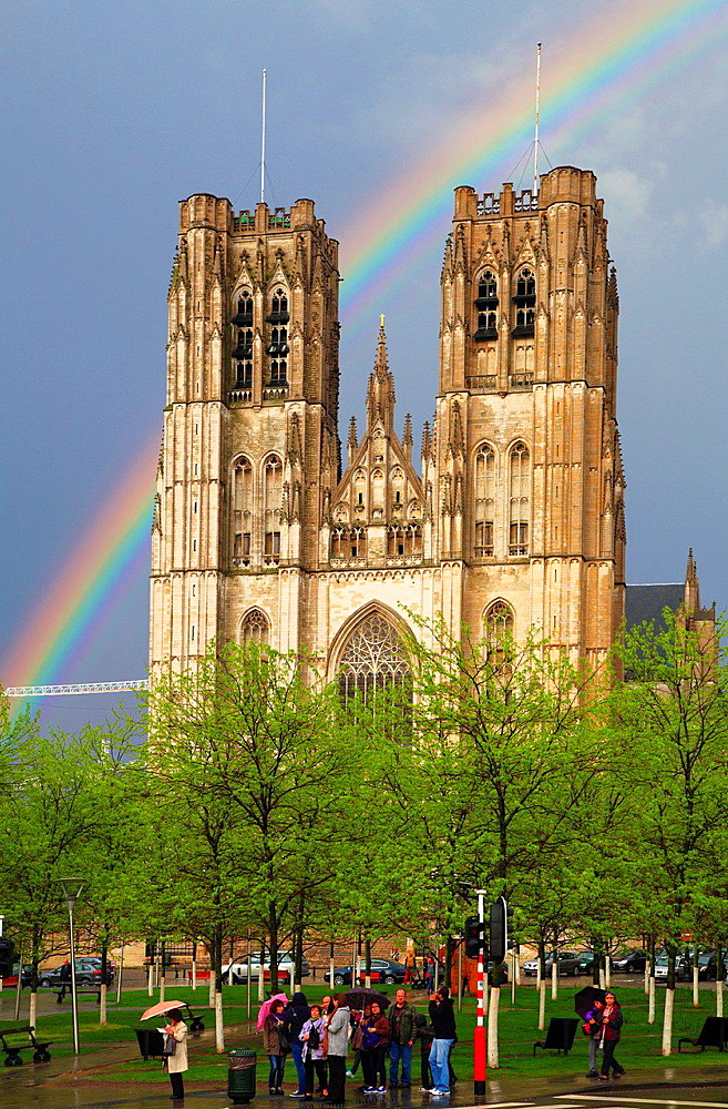 Belgium, Brussels, Cathedral, rainbow.