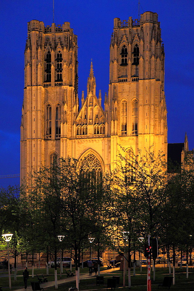 Belgium, Brussels, Cathedral; Sts-Michel-et-Gudule;.