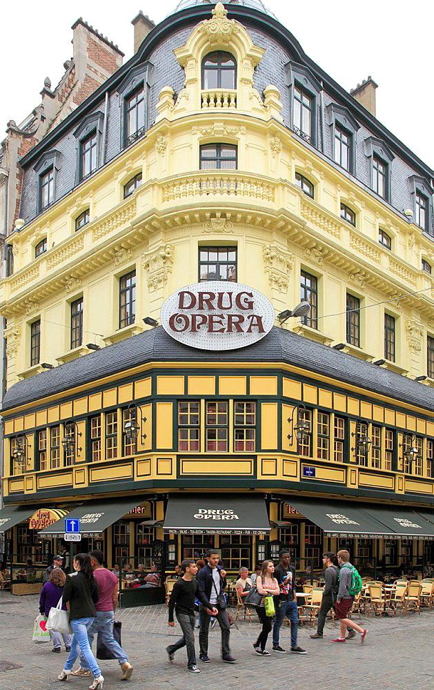 Belgium; Brussels; Drug Opera store, street scene.