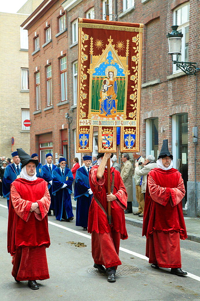 Belgium, Bruges, Procession of the Holy Blood, people.