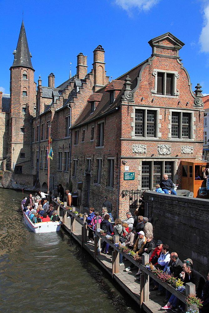 Belgium, Bruges, canal scene.