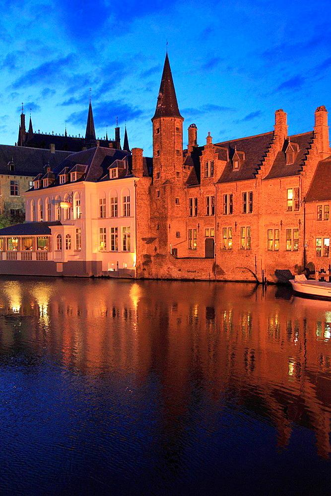 Belgium, Bruges, canal scene, night.
