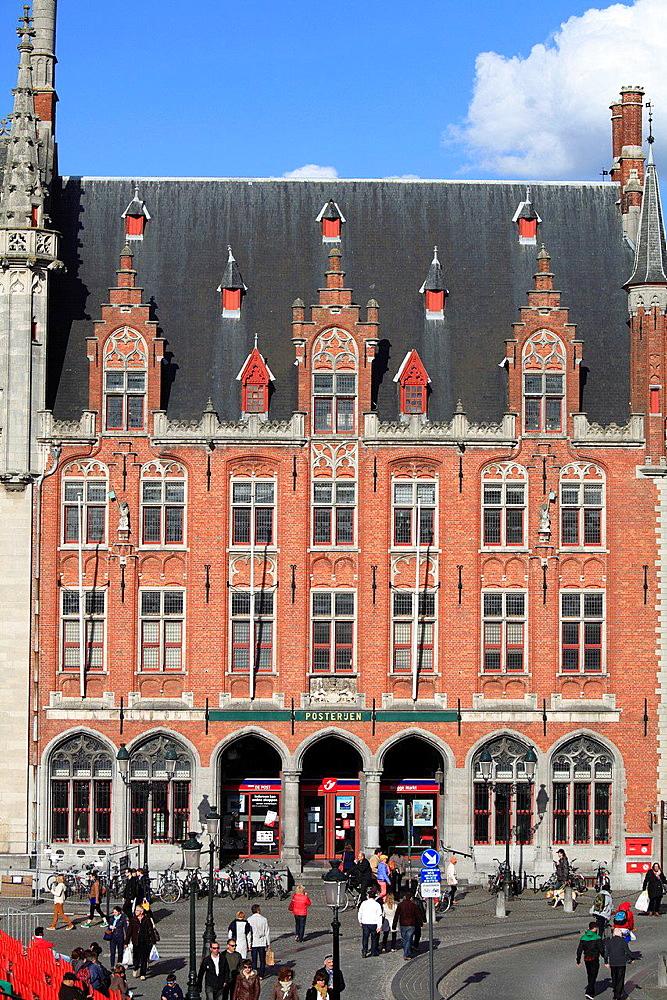 Belgium, Bruges, Markt, Main Square, Post Office.